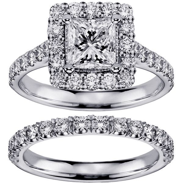 White Gold 2 4/5ct TDW Princess-cut Diamond Square Halo Bridal Ring... ($4,770) ❤ liked on Polyvore featuring jewelry, rings, white, white gold wedding rings, bridal set rings, pave diamond ring, diamond rings and princess cut diamond rings