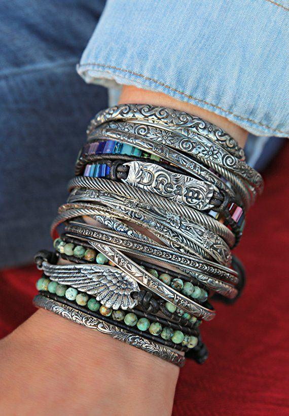 40a7a9760b92b Bohemian Stacking Bracelets, Boho Jewelry, Boho Stacker Cuffs, Boho ...