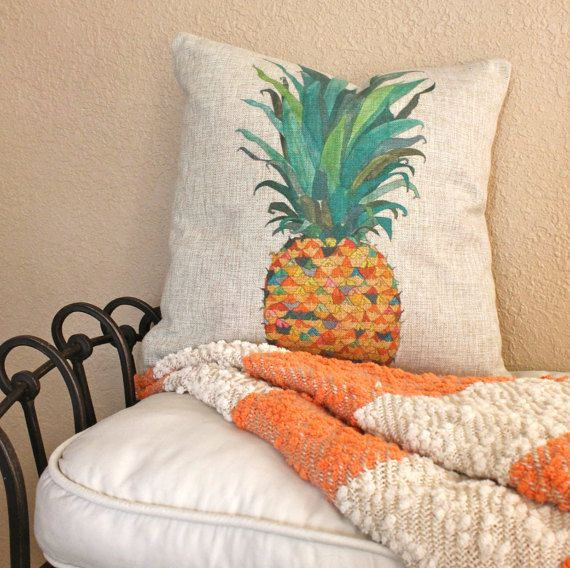 The pineapple fruit symbolizes warmth and friendliness and is the international symbol of hospitality.  This adorable pillow cover is a colorful
