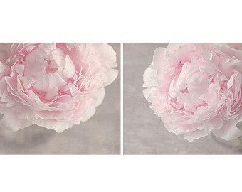 Set di 2 stampe di peonia rosa pastello di SuzanneHarfordPhoto
