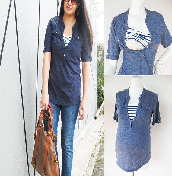 SARA Chambray Maternity Shirt/ Nursing Top Breastfeeding Top/ Nursing Clothes NEW Original Design Pregnancy Clothes