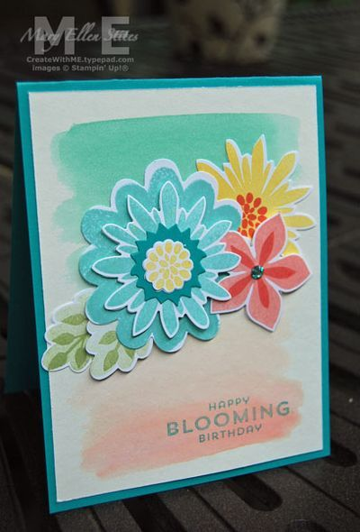 Pretty card with the Flower Patch stamp set & Flower Flair framelits