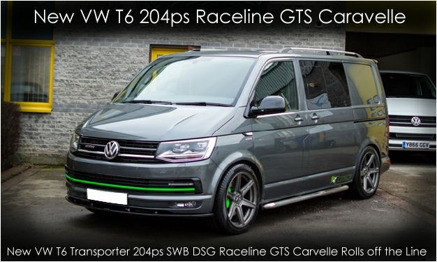 """VW T6 in Indium grey with green trim with 20"""" Raceline GTS alloys and lowered 50mm. http://www.customvanz.com/VW-T6-204-PS-7-SPEED-DSG-HIGHLINE-CONVERTED-TO-A-CUSTOM-RACELINE-GTS-CARAVELLE.html"""