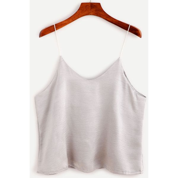 Silver Swing Satin Cami Top ($6.99) ❤ liked on Polyvore featuring tops, silver, white singlet, white camisole, satin camisole, satin camisole tops and white spaghetti strap tank top
