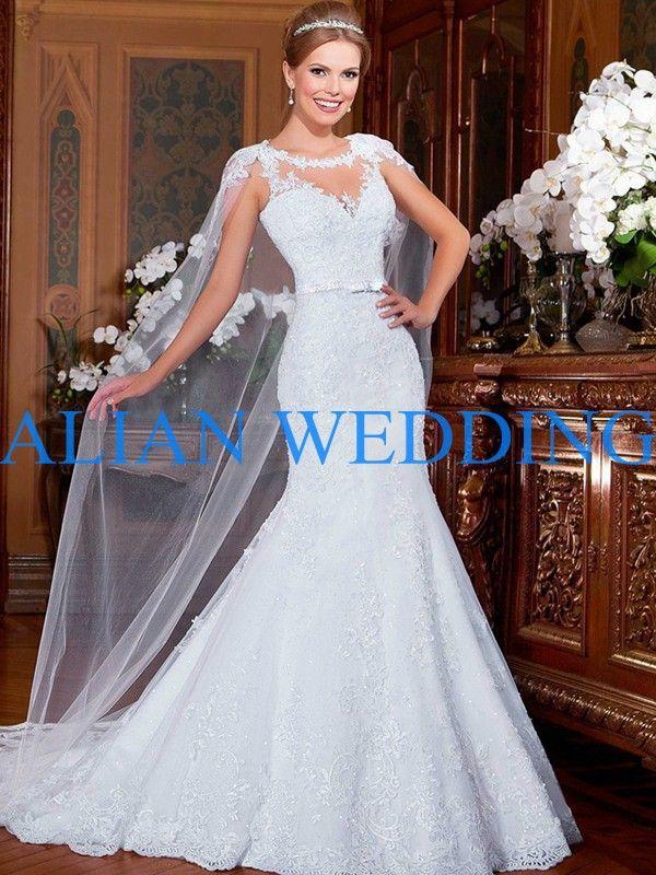 Lovely Click to Buy uc uc Fast Shipping Elegant Mermaid Wedding Dress Sheer Neck