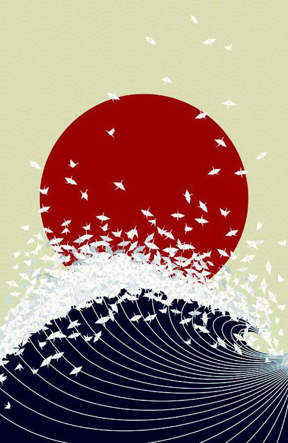 """""""SENBAZURU JAPAN"""" by Jessica Moon. """"Project Senbazuru is an artistic response to the disaster situation in Japan. Inspired by Japanese senbazuru exchanging, the Project Senbazuru illustration aims to promote hope and prosperity in the midst of such devastation. 100% of the profits made will go directly to the disaster relief effort."""""""