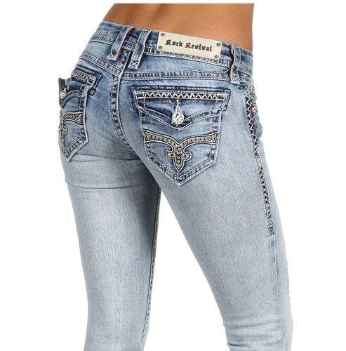 New Rock Revival Jeans Kate Boot Cut RJ8324 B2 Hot Rhinestones Flap Pocket