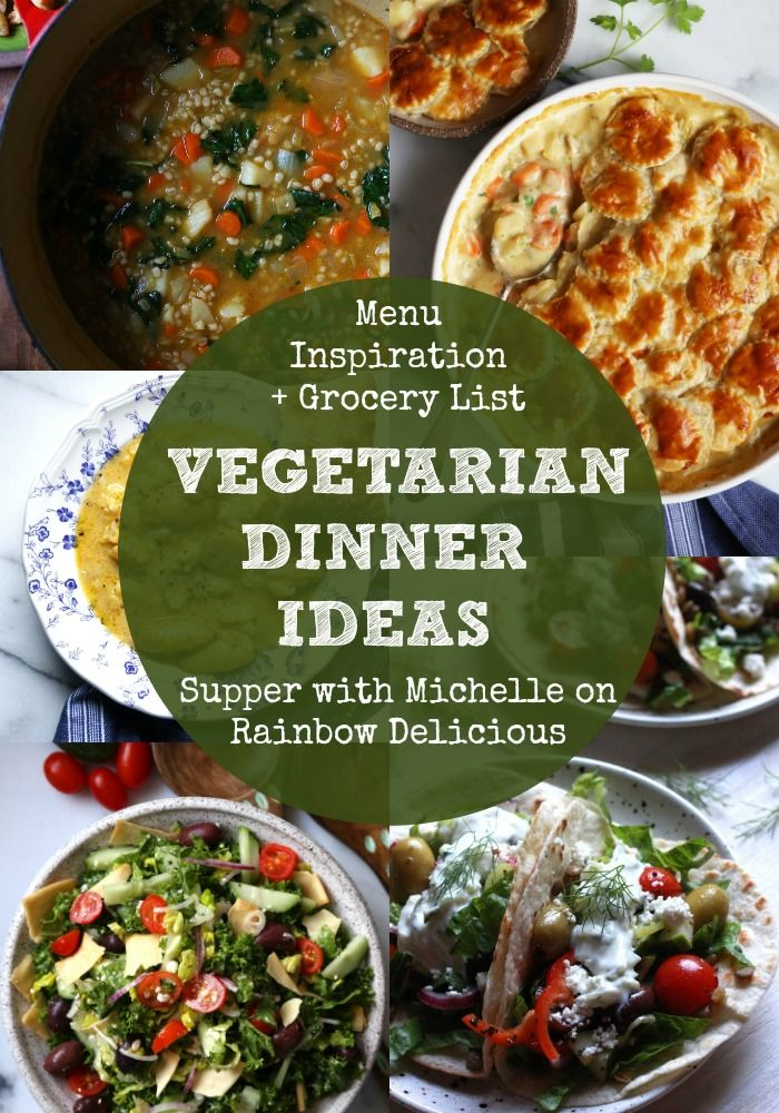 Five Vegetarian Dinner Ideas from Supper with Michelle. Recipe ideas include Greek tacos, Greek salad, cauliflower leek and potato soup  and vegetable pot pie. There is a free printable grocery shopping. Answering what's for dinner tonight gets easier with these menu plans!