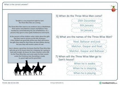Ficha navideña de elegir la respuesta correcta en inglés para primaria