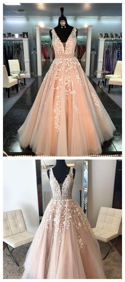 Lace Tulle A line Evening Prom Dresses, Sexy Deep V Neckline Party Prom Dress, Custom Long Prom Dresses, Cheap Formal Prom Dresses, 17053