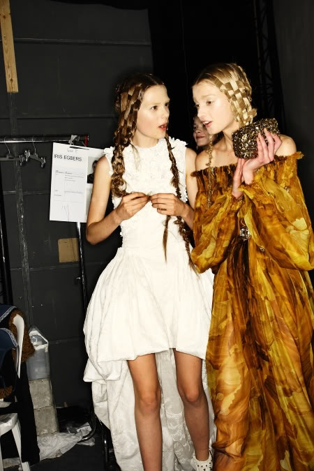 Backstage at Alexander McQueen S/S 11