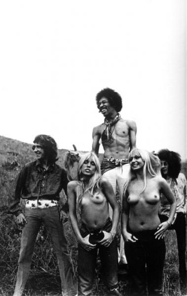 Jimi Hendrix and the Hippie Twins at Woodstock by Tom Allmon 1969