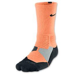 Men's Nike Hyper Elite Basketball Socks| FinishLine.com | Atomic Orange/Black/Anthracite