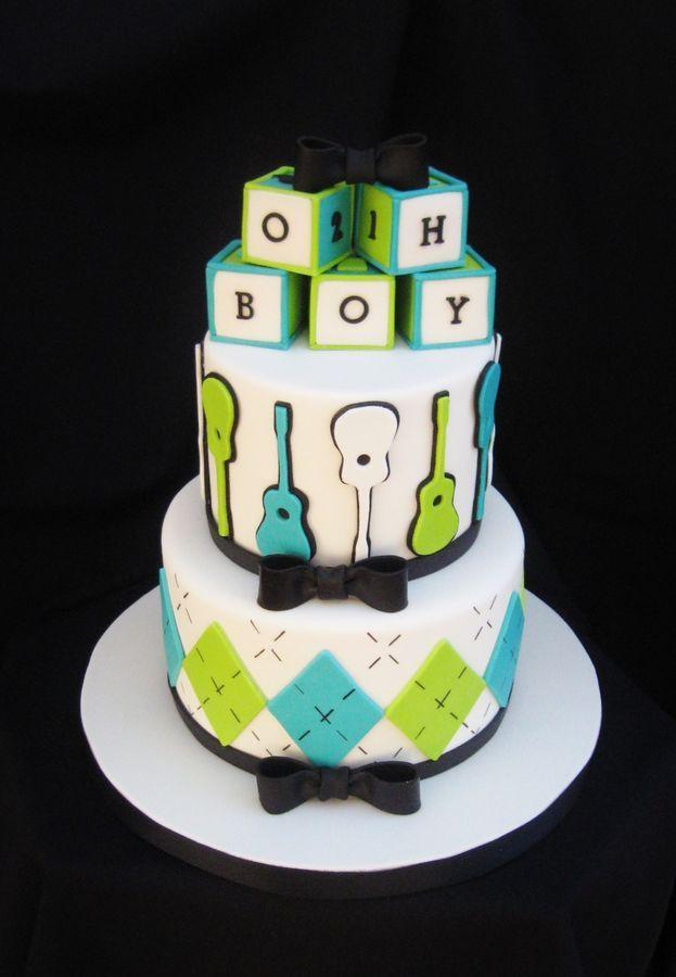 Guitar Baby Shower Cake