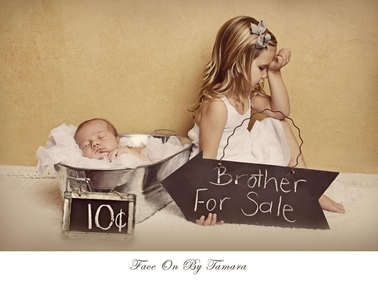 Brother for sale Newborn photo shoot with sibling www.faceonbytamara.com Oldie but goodie photo