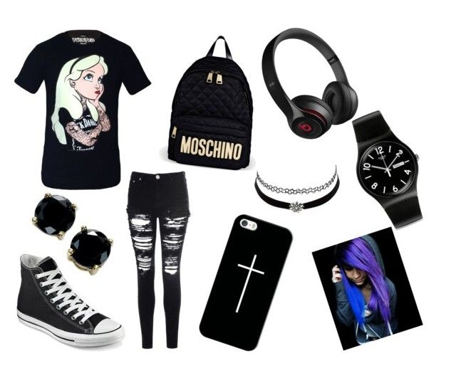 """""""Emo """" by holspx ❤ liked on Polyvore featuring Disney, Glamorous, Converse, Moschino, Casetify, Beats by Dr. Dre, Charlotte Russe, B. Brilliant and Swatch"""