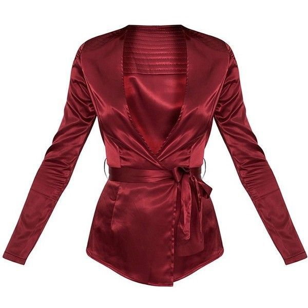 Sanciah Burgundy Satin Wrap Front Blazer ❤ liked on Polyvore featuring outerwear, jackets, blazers, burgundy blazer, satin blazer, blazer jacket, satin blazer jacket and satin jackets
