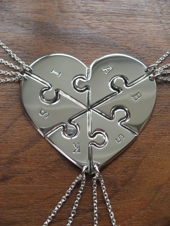 Six Piece Heart with Initials Pendant by GorjessJewellery on Etsy, £252.00