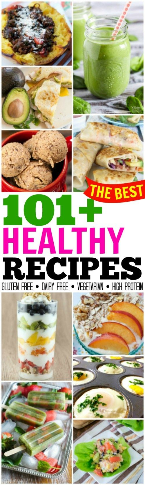 TONS of amazing options in this collection of 101  Healthy Recipes to feel better and lose weight! Gluten free, dairy free, high protein, vegetarian