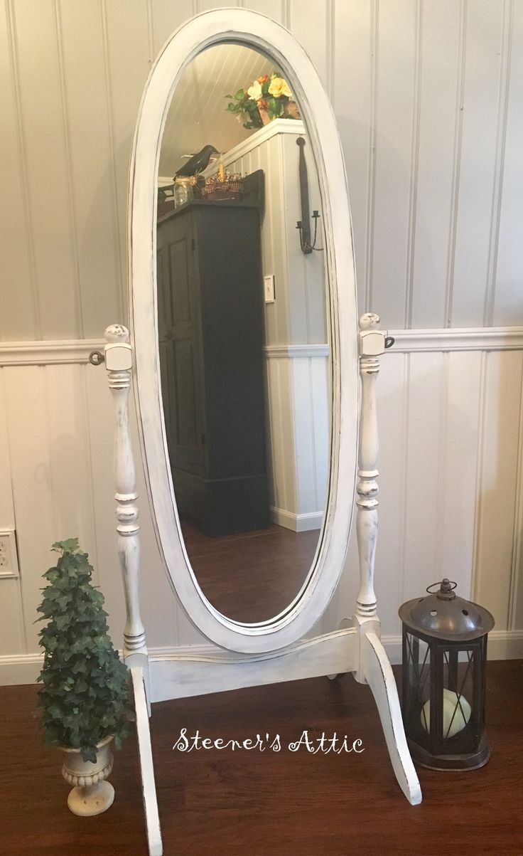 Refinished Vintage Walnut Standing Mirror Distressed Chalk Paint And Waxed Standing Mirror