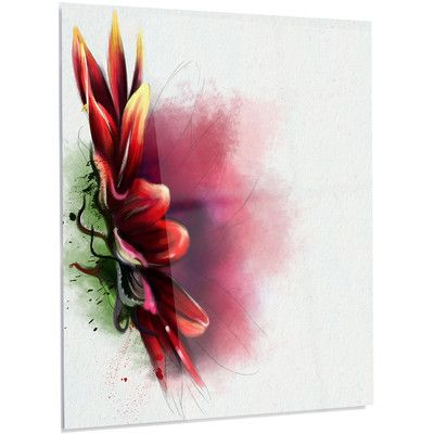 """DesignArt 'Red Sunflower Watercolor' Painting Print on Metal Size: 28"""" H x 12"""" W x 1"""" D"""
