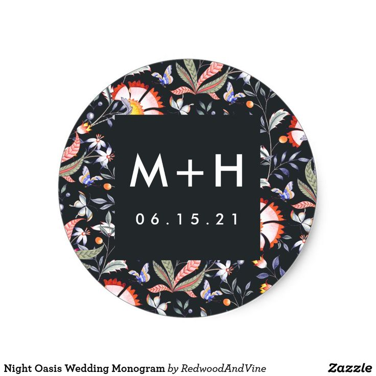Night Oasis Wedding Monogram Classic Round Sticker