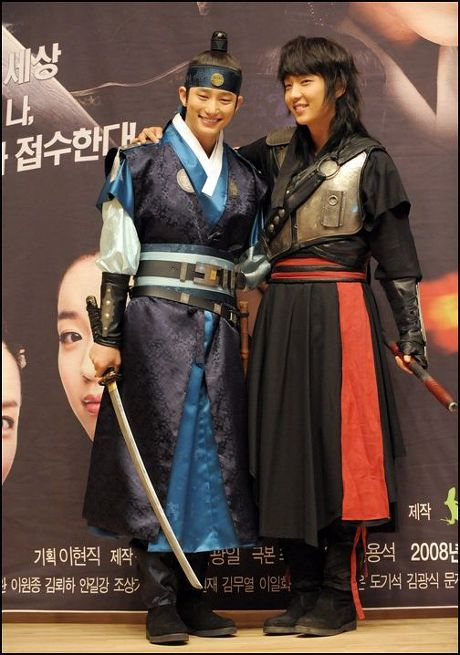 """Iljimae(Hangul:일지매;hanja:一枝梅;RR:Iljimae; literally """"One blossom branch"""") is a 2008 South Koreanperiod-action television series, starringLee Joon-giin the title role of Iljimae,Han Hyo-joo,Lee Young-ahandPark Si-hoo.It is loosely based on thecomic stripIljimae, published between 1975 and 1977, written by Ko Woo-young based onChinese folklorefrom theMing dynastyabout a maskedRobin Hood-esque character during theJoseon era. 박시후와이준기"""
