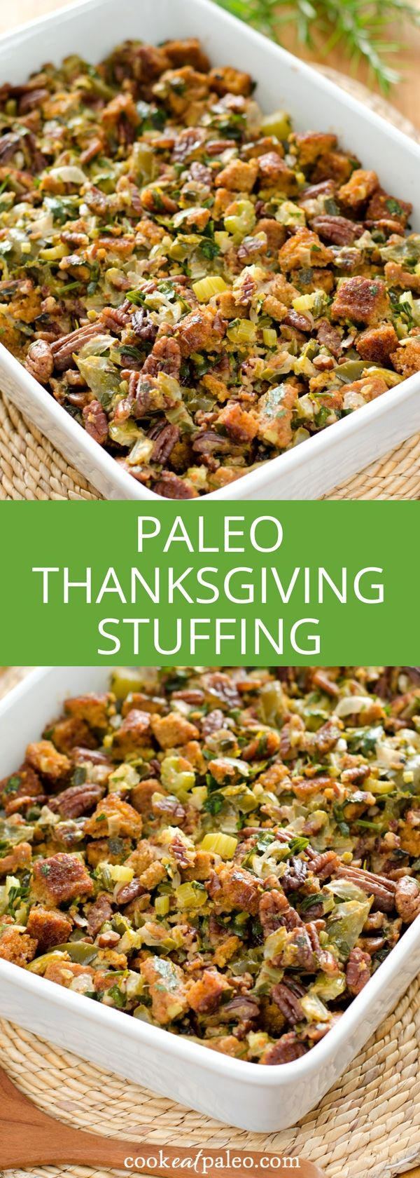 This stuffing is based on the traditional cornbread dressing I've made for years. The hint of sweetness and spice with the vegetables, herbs, and pecans is a family favorite. The perfect gluten-free stuffing that's a paleo spin on traditional cornbread dressing!  #thanksgivingrecipe #paleorecipe