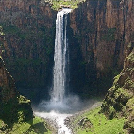 """Beautiful waterfall in the heart of Lesotho.  """"In the Heart of South Africa, a Kingdom remains; surrounded by a sea of land. Discover the treasures of a lifetime."""" #Lesotho"""