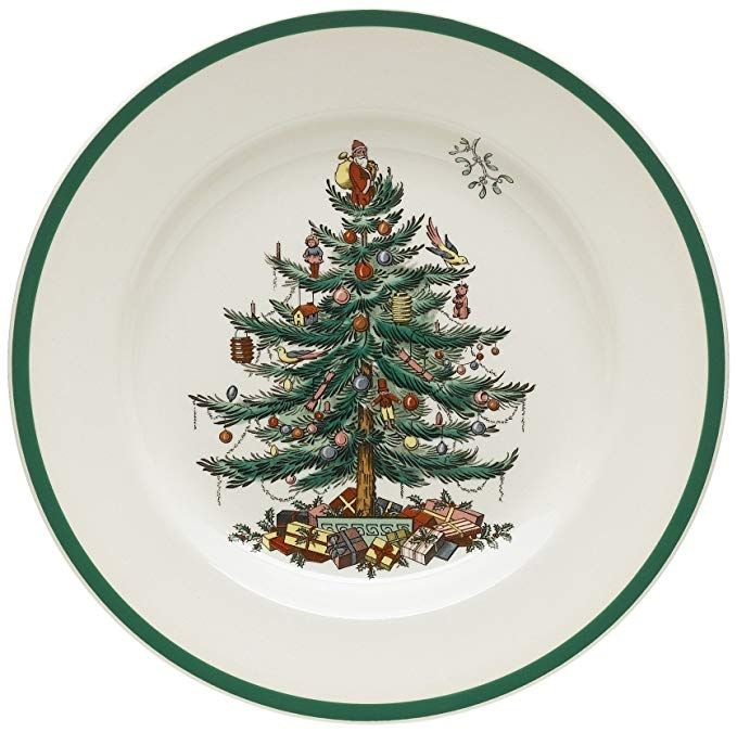 Spode Christmas Tree 10 1 2 Inch Dinner Plates Set Of 4 Spode Christmas Tree Christmas Tableware Spode Christmas