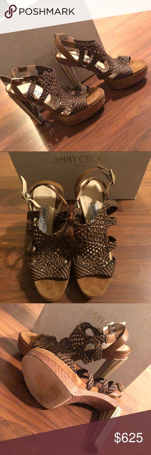 JIMMY CHOO 130MM BRAIDED PLATFORM SANDAL Never worn, just walked around my house in them otherwise, just sitting in my closet. Proof of purchase at Neiman Marcus Last Call, very comfortable shoe. Not looking to trade, accepting offers, no low balling. :) 100% authentic. Jimmy Choo Shoes
