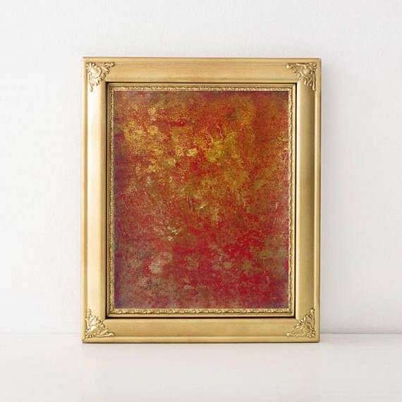 Original Acrylic Abstract Sponge Painting on Watercolour Paper - Red Gold Brown Modern Textured Abstract Art - Gold Acrylic Painting 9'x12'