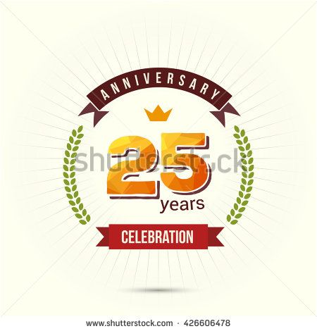 25 Years Anniversary with Low Poly Design and Laurel Ornaments