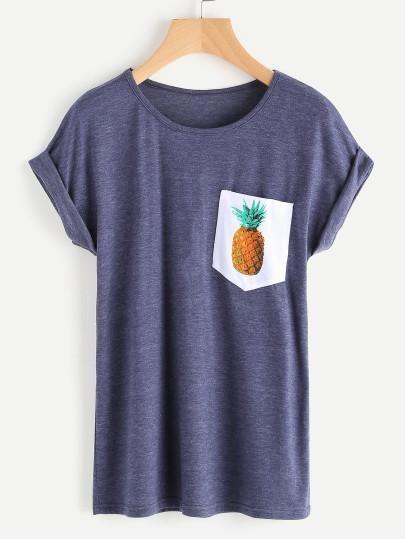 Pineapple Print Cuffed Casual Tee Shirt, pineapple printed shirt, casual tees, trendy tees - Lyfie