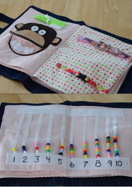 Art Quiet Book Ideas-- cute! (Especially the counting beads) This would be great…