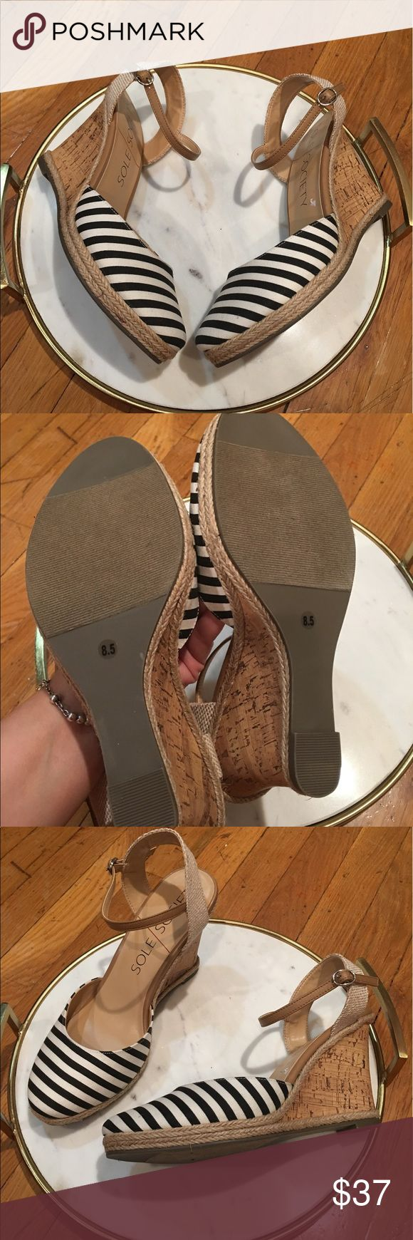 New Sole Society Wedge heel Stripe Espadrille NWT