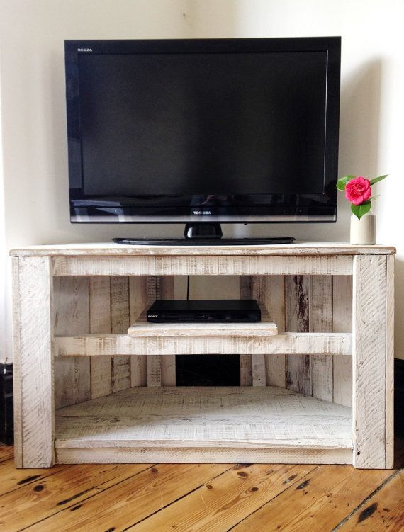 Marvelous Tv Table With Storage Part - 6: Made To Order - Handmade Rustic Corner Table / TV Stand With Shelf In White.