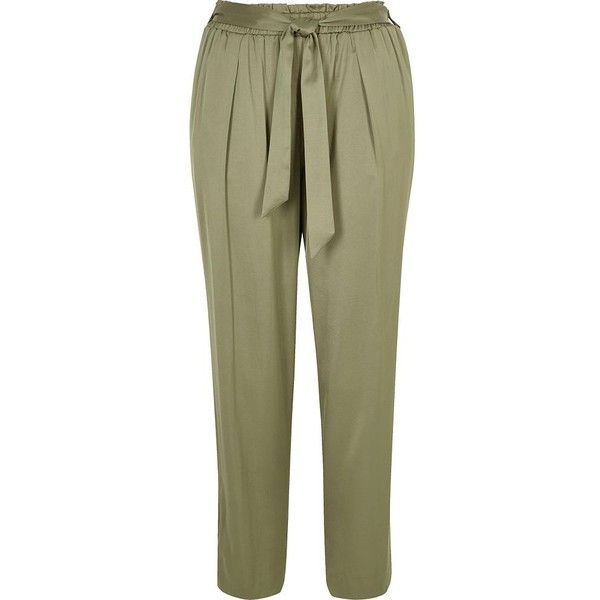 River Island Light green soft tie tapered trousers (€20) ❤ liked on Polyvore featuring pants, green, sale, tie waist pants, tapered pants, high-waisted trousers, relaxed fit pants and tall pants