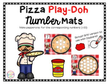 Math Mats, Play-doh pizza number mats  Have your students engaged and learning all about number recognition, 1-1 correspondence , and counting  no prep, play-doh, daubers, math, numbers,