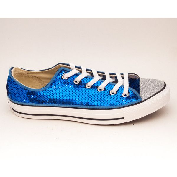 Sequin Sapphire Blue Canvas All Star Lo Top Sneakers Shoes With Silver... ($115) ❤ liked on Polyvore featuring shoes, sneakers, silver, sneakers & athletic shoes, tie sneakers, women's shoes, blue trainers, sparkly sneakers, canvas sneakers and blue shoes