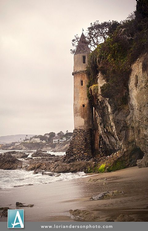 Laguna Beach Castle.  It's not everyday we see such unique architecture in Orange County.  This castle-like turret was once used as a staircase to provide access from the top of the cliff to the shoreline.