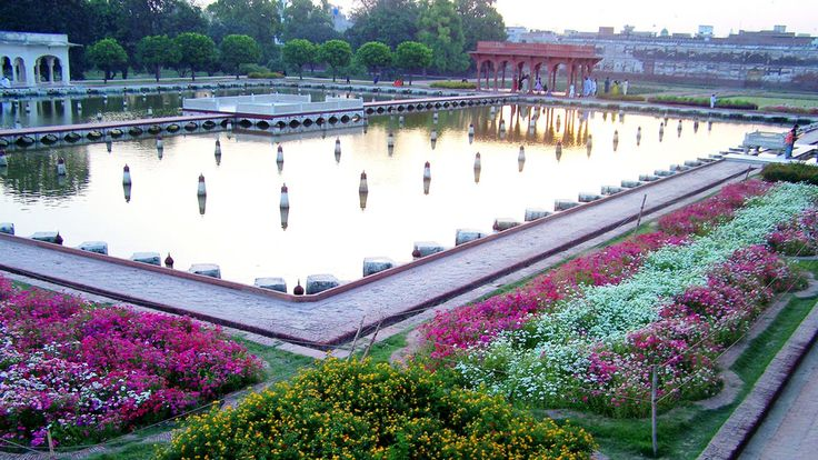 Shalimar Garden Park, Lahore Pakistan - According to Wikipedia was built by the Mughal Empire. Construction began in 1641 AD and completed the following year. Its shaped like a oblong parallelogram, surrounded by a high brick wall and famous for intricate fretwork. There are 410 fountains, which flow into wide marble pools.