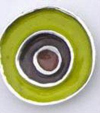 CBK-1043 Material: Matte Silver Metal Description: Carol Beach Knob, Fiesta, 1 1/2'' Dia. Finish: Olive/Chocolate $4.50/ea Check out colors for kids' bathrooms