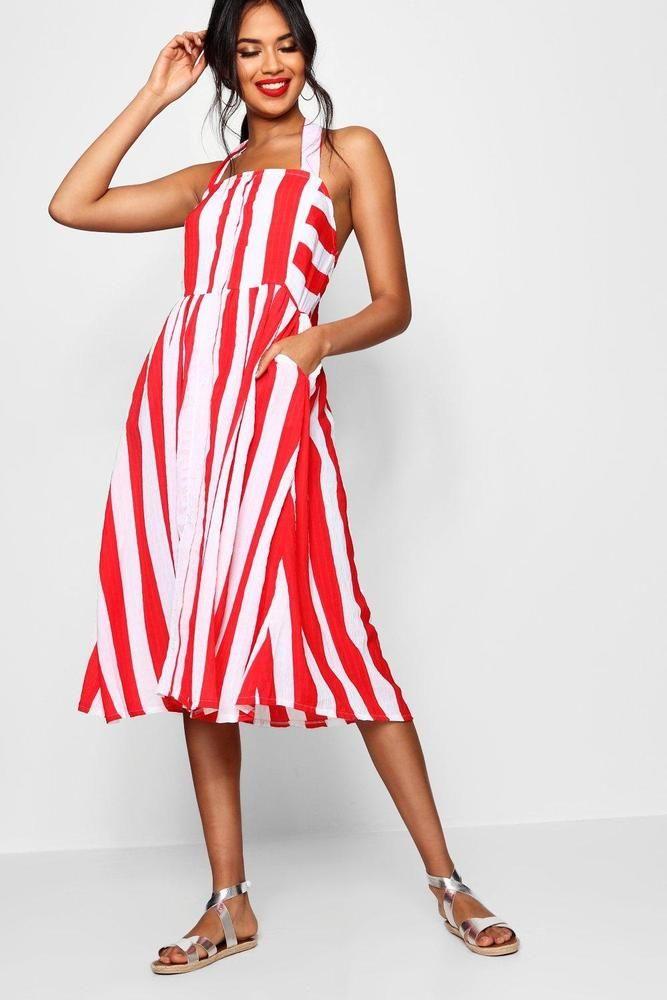 421add7f751 Loveeeee this dress! Boohoo Womens Halterneck Striped Midi Dress ...