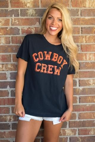 OSU Cowboy Crew distressed t-shirt. Grab your crew and tailgate in style in this trendy Oklahoma State University t-shirt! You will love the fit and feel of thi
