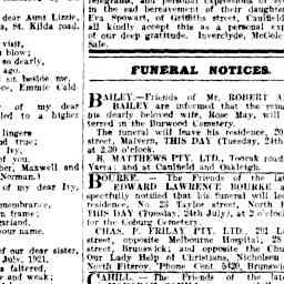 BAILEY, Rose May. Funeral Notice.  The Argus, 24 Jul 1928, 'Family Notices', p. 1.