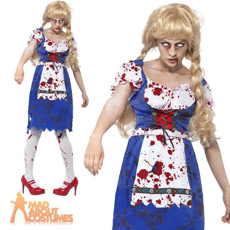 Adult Zombie Bavarian Costume Oktoberfest Halloween Horror Fancy Dress Outfit