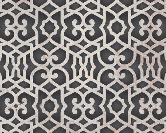 Moroccan Trellis Wall Stencil Pattern Chez Sheik Allover Moroccan Stencil for Exotic Modern Wall Decor. $49.00, via Etsy.
