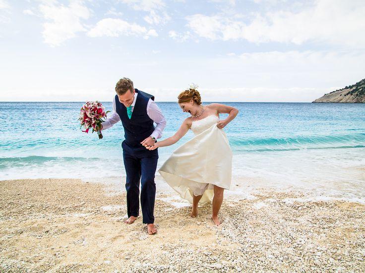 Just married - Just hapiness #beachwedding #weddingingreece #mythosweddings #kefalonia