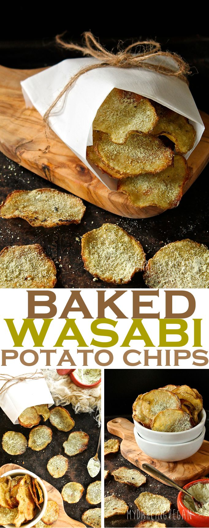 A snack with a little kick: Baked Wasabi Potato Chips. Click the photo for the full recipe.